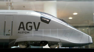 A scale model of an AGV high speed train with the logo of Alstom is seen before a news conference to present the company's full year 2016/17 annual results in Saint-Ouen, near Paris, France, May 4, 2017.