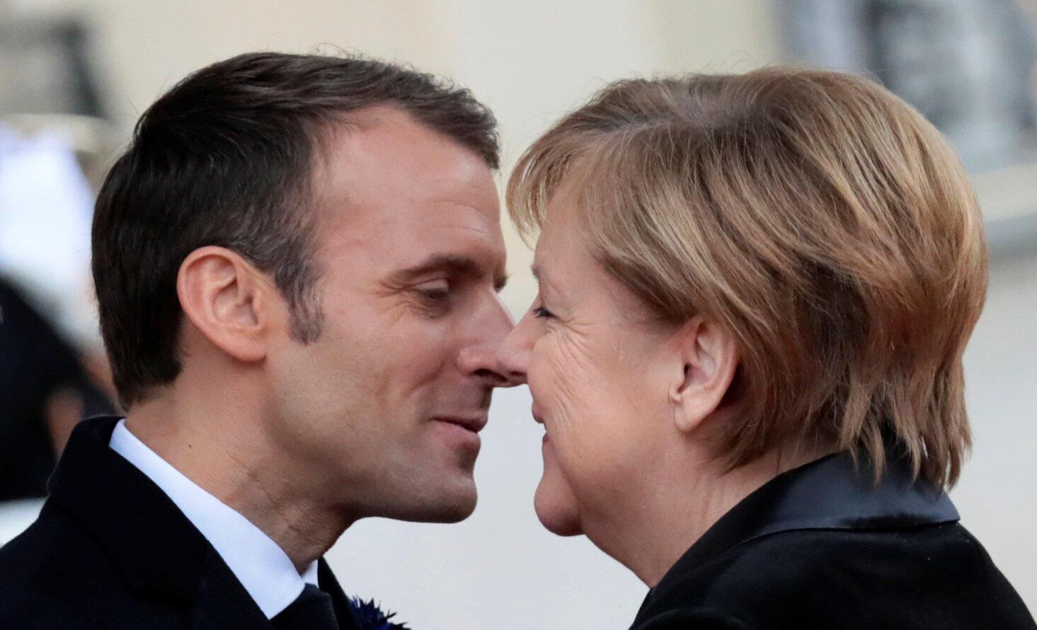 امانوئل ماکرون، نخستوزیر فرانسه و آنگلا مرکل صدراعظم آلمان