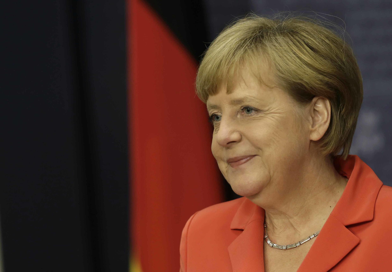 Ангела Меркель во время пресс-конференции в Риге, 18 августа 2014 г.
