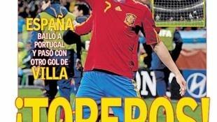 O atacante David Villa é o destaque do jornal esportivo espanhol As.