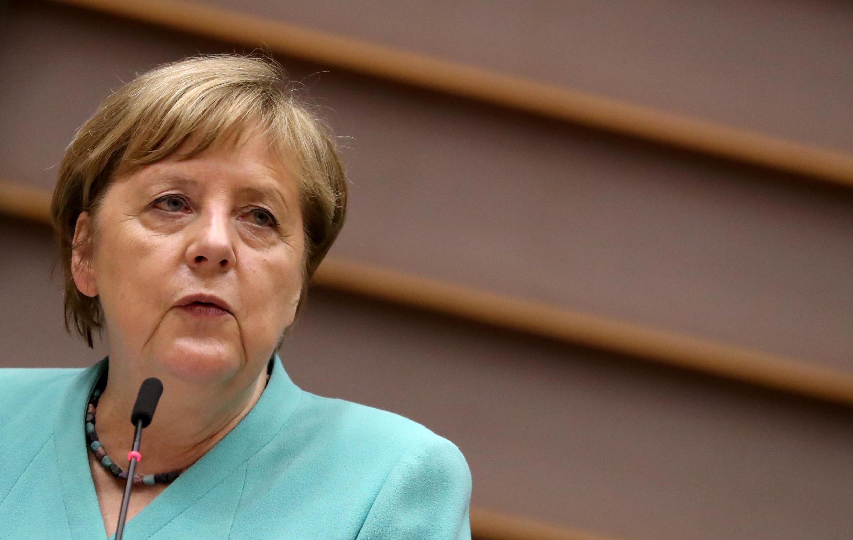 7月8日,德國總理默克爾在歐洲議會發表講話,談到香港用詞很模糊。
