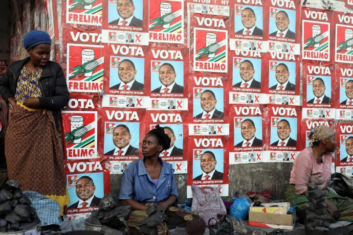 Campaign posters for the ruling party Frelimo in Maputo, Mozambique, August 2019 Observers decried unfair conditions, use of state resources by ruling party, as well as election violence