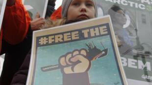 Manifestación en Moscú por la liberación de los activistas, 5 de octubre de 2013