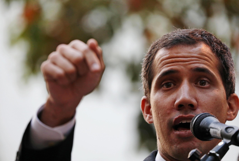 Chủ tịch Quốc Hội Venezuela Juan Guaidó phát biểu trước người ủng hộ ở Caracas, ngày 28/03/2019.