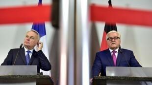 Министр иностранных дел Франции Жан-Марк Эро и его немецкий коллега Франк-Вальтер Штайнмайер, Берлин, июнь 2016 г.