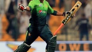 Pakistan's Hasan Ali celebrates after winning the match against Sri Lanka.