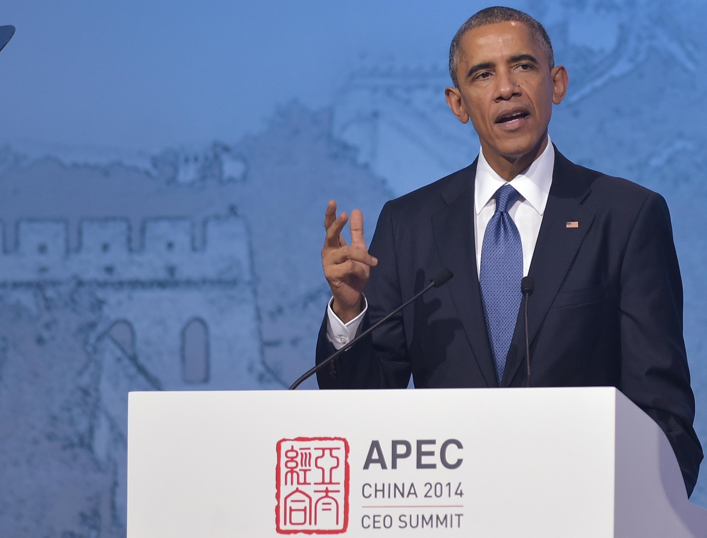 Le président des Etats-Unis Barack Obama lors de son discours au sommet de l'Apec à Pékin, le 10 novembre 2014.