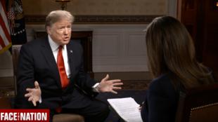 美国总统特朗普接受哥伦比亚广播公司记者玛格丽特·布伦南专访资料图片