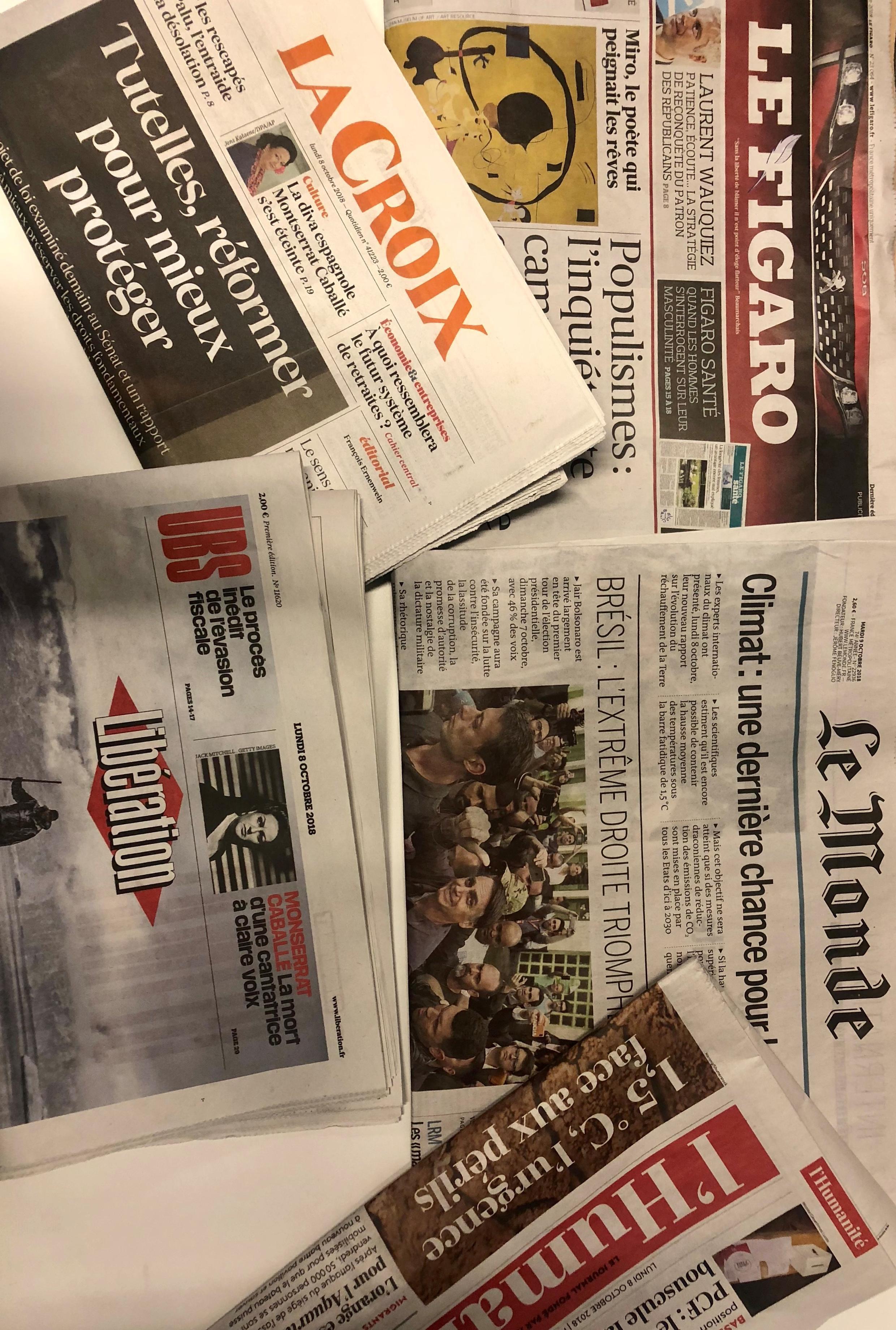 Primeiras páginas dos jornais franceses de 8 de dezembro de 2018