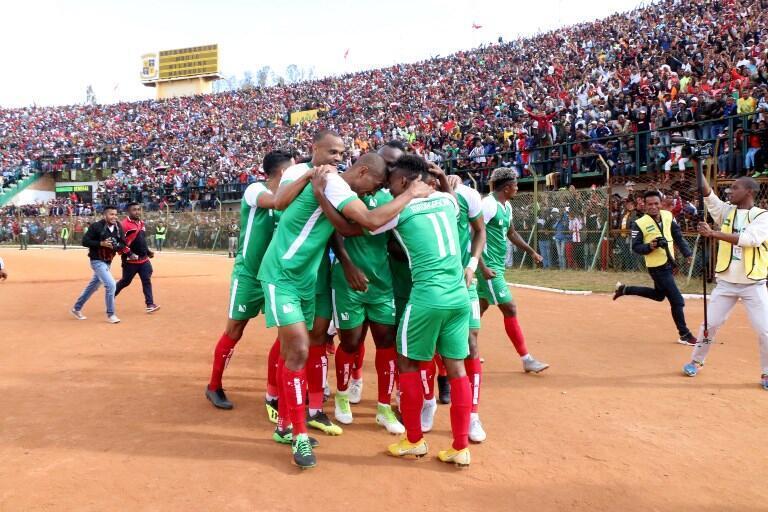 Les joueurs malgaches célèbrent un de leurs buts marqués contre le Sénégal (2-2) dimanche 9 septembre 2018.