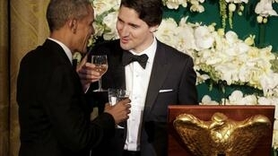 加拿大总理特鲁多与美国总统奥巴马