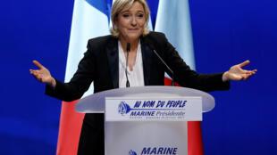 """مارین لوپن رهبر حزب راست افراطی فرانسه موسوم به """"جبهۀ ملی"""""""