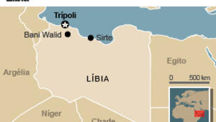 Mapa da Líbia, mostrando Sirte, a Norte