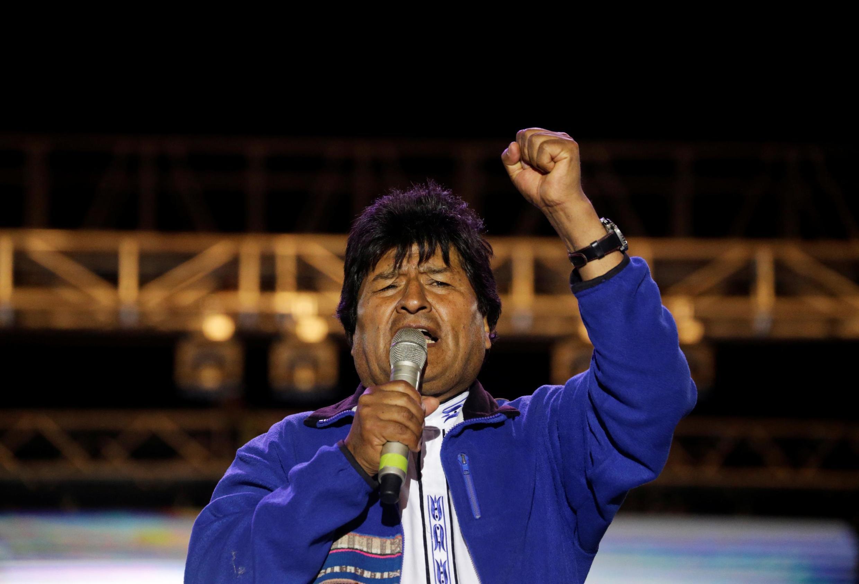 Evo Morales at a rally in Santa Cruz, Bolivia, 15 October 2019.
