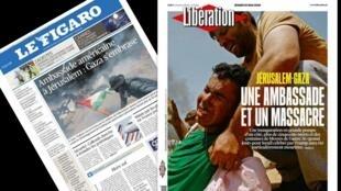 Manchetes do jornal Libération e Le Figaro nesta terça-feira (15): uma embaixada e um massacre, diz a manchete do Libération.