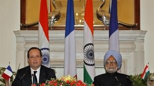 Президент Франсуа Олланд и премьер-министр Индии Манмохан Синх, 14 февраля 2013 год