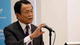 日本副首相兼財務相麻生太郎在紐約 2017年4月19日