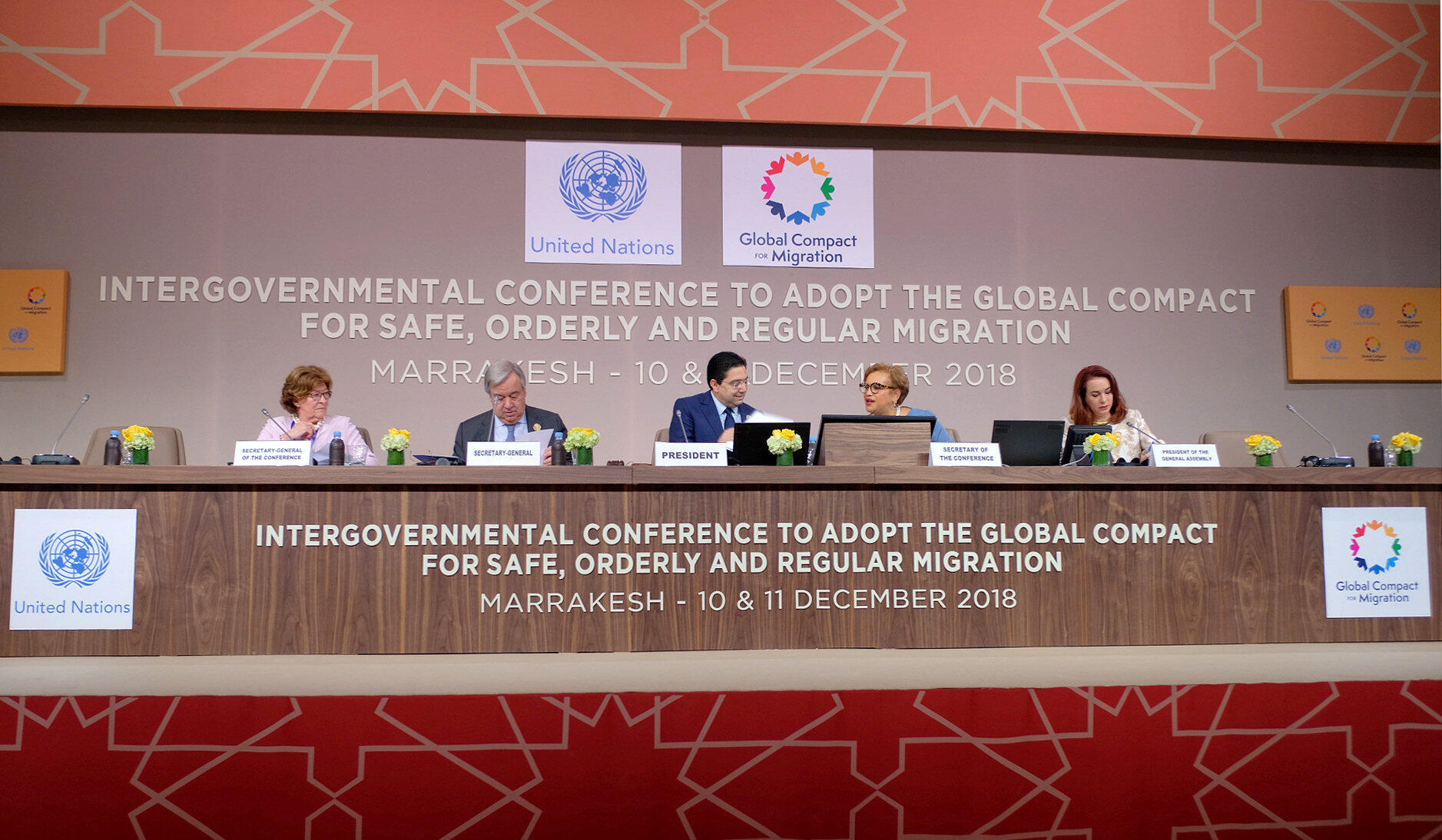 """در """"یازدهمین نشست جهانی مهاجرت و توسعه""""، آنتونیو گوترش دبیرکل سازمان ملل متحد و برخی مقامهای عالیرتبه جهان حضور دارند. دوشنبه ١٩ آذر/ ١٠ دسامبر ٢٠۱٨"""