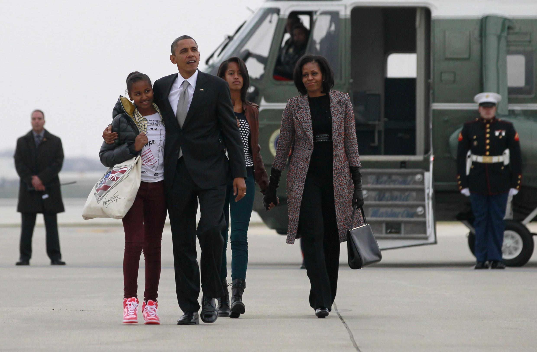 A família Obama em Washington.