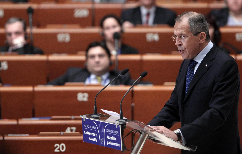 سرگئی لاوروف، وزیر امور خارجه روسیه، در مجمع عمومی پارلمان اروپا