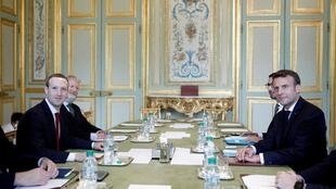 French president Emmanuel Macron (r) meets CEO and co-founder of Facebook Mark Zuckerberg (l) at the Elysee Palace, Paris,  10 May 2019