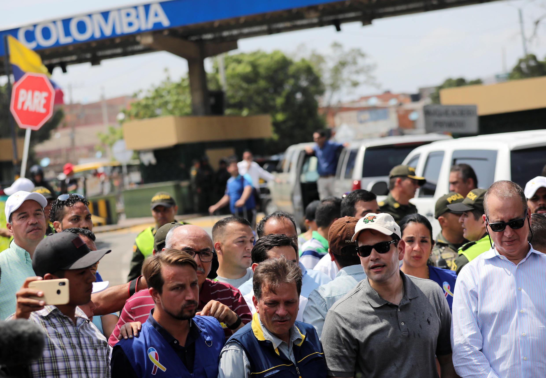 Le sénateur américain Marco Rubio (deuxième à droite), comme le président colombien Ivan Duque, se sont rendus vendredi à Cucuta pour témoigner de leur soutien à l'opposition vénézuélienne.