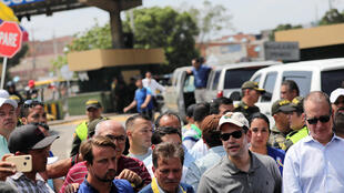 Le sénateur américain Marco Rubio (deuxième à droite), comme le président colombien Ivan Duque, se sont rendu vendredi à Cucuta pour témoigner de leur soutien à l'opposition vénézuélienne.