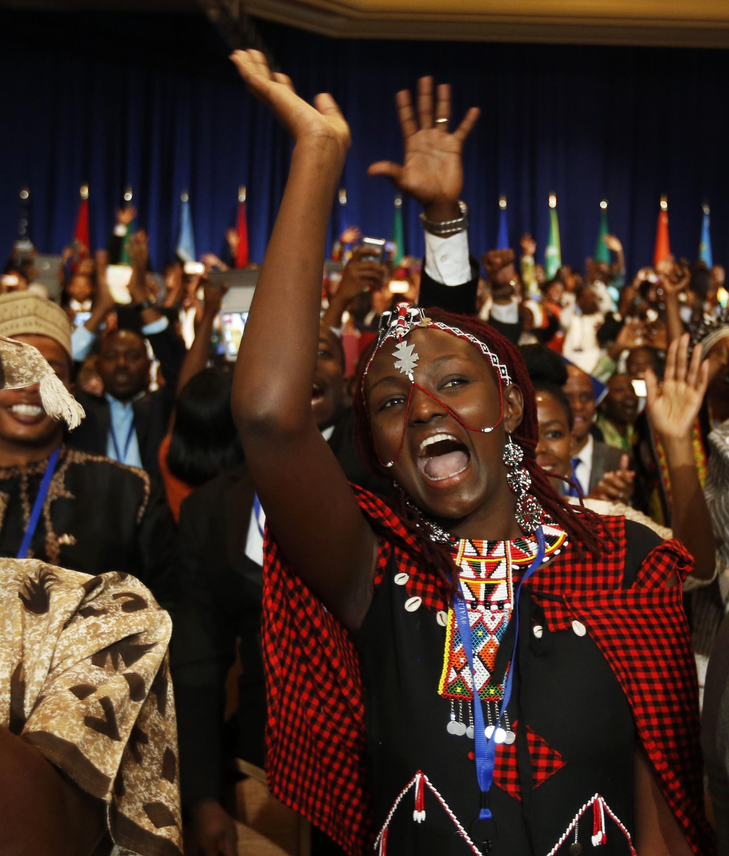 La Kényane Josephine Kuela, lors du discours de Barack Obama le 28 juillet 2014, en prélude au sommet Etats-Unis - Afrique.