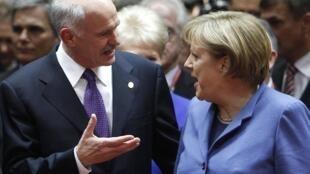 希臘總理帕潘德里歐和德國總理默克爾在3月25日子布魯塞爾見面.