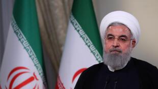 Le président iranien Hassan Rohani lors d'une allocution à la télévision, à Téhéran, le 8 mai 2018. Une intervention qui faisait suite à l'annonce du président Donald Trump du retrait des Etats-Unis de l'accord sur le nucléaire iranien.