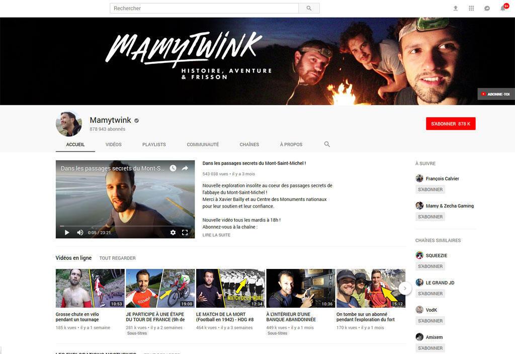 Capture d'écran de la chaîne Mamytwink sur Youtube.