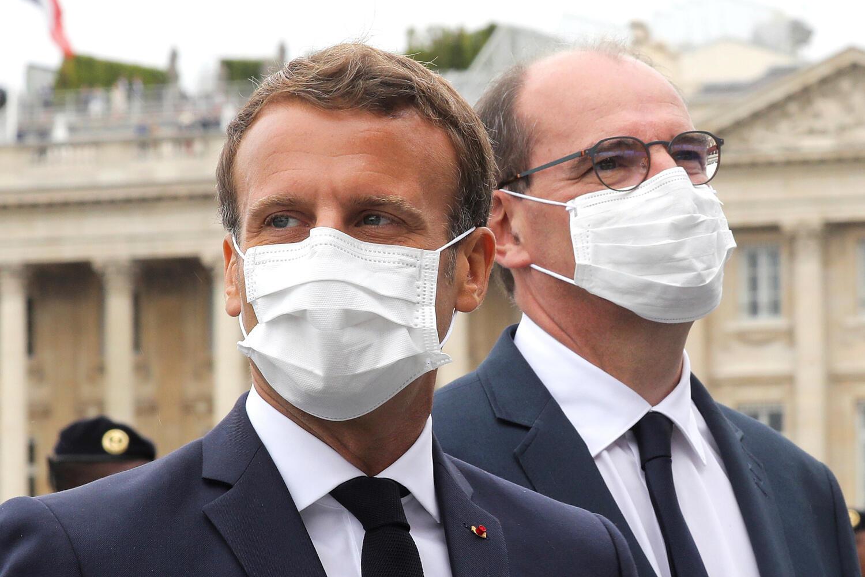Image d'archive RFI : Le président Emmanuel Macron et le Premier ministre Jean Castex. Le 14 juillet 2020.