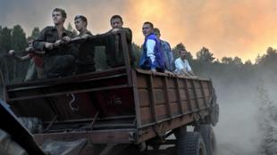 Близ села Такушево (50 км от Сарова) где загорелся лес.