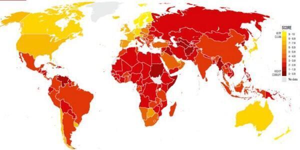 Bản đồ của tổ chức Minh bạch Quốc tế (www.transparence.org)