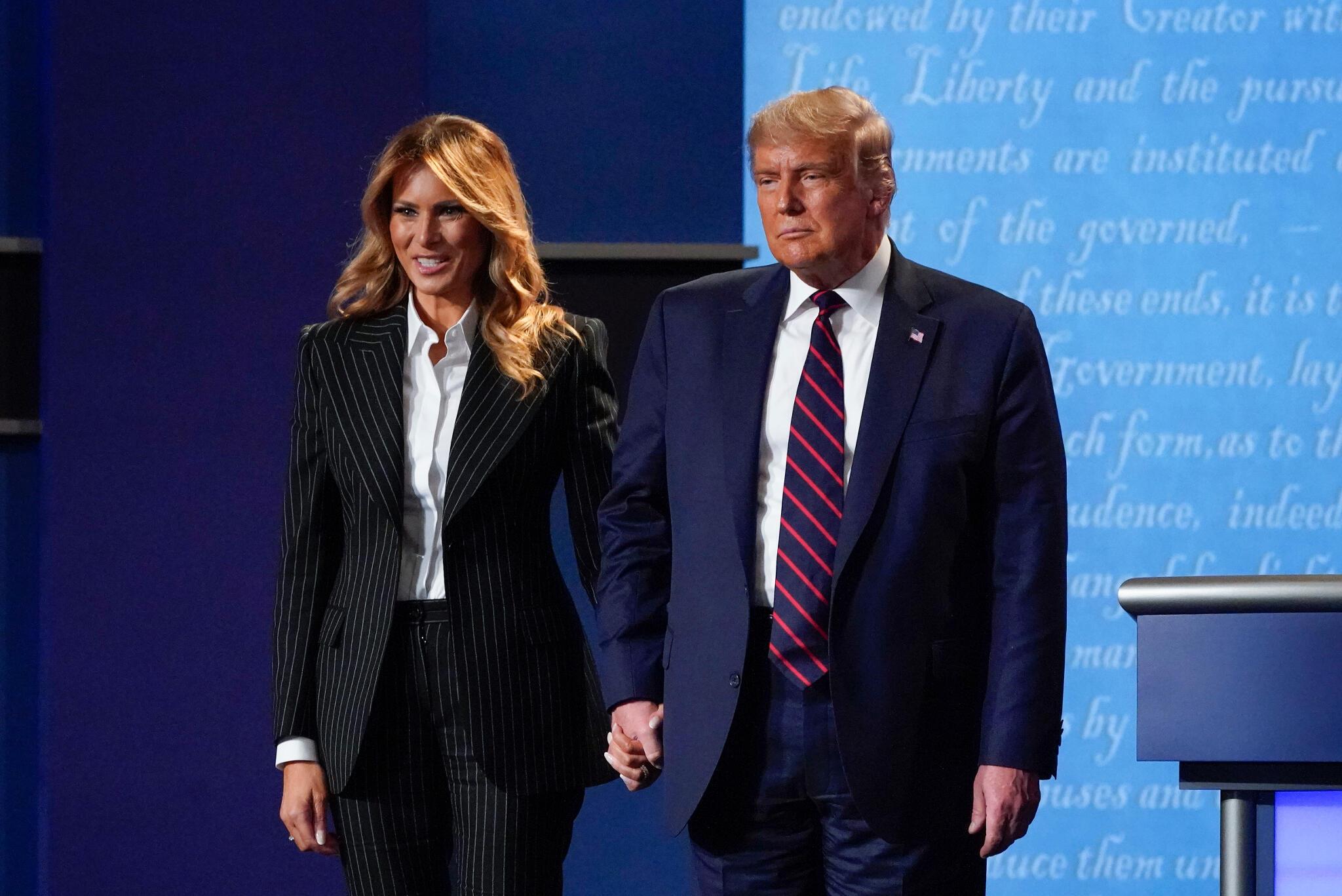 美国总统特朗普及第一夫人梅拉尼亚