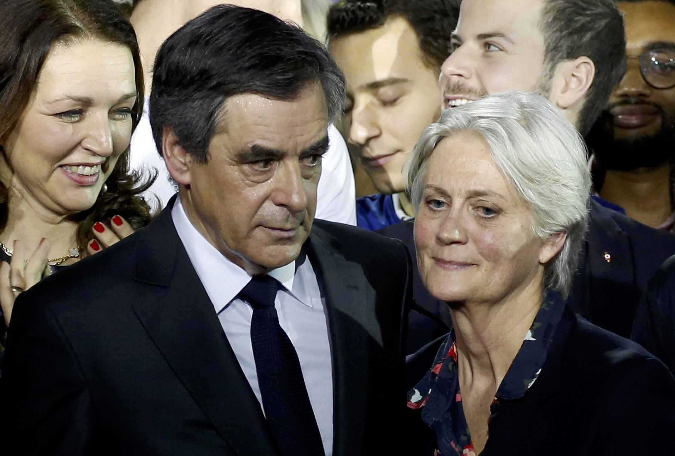Penelope and François Fillon at a campaign rally on Sunday