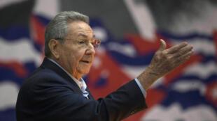 Cuba's then-president Raul Castro addresses the Cuban Communist Party Congress in Havana, Cuba, in 2016.