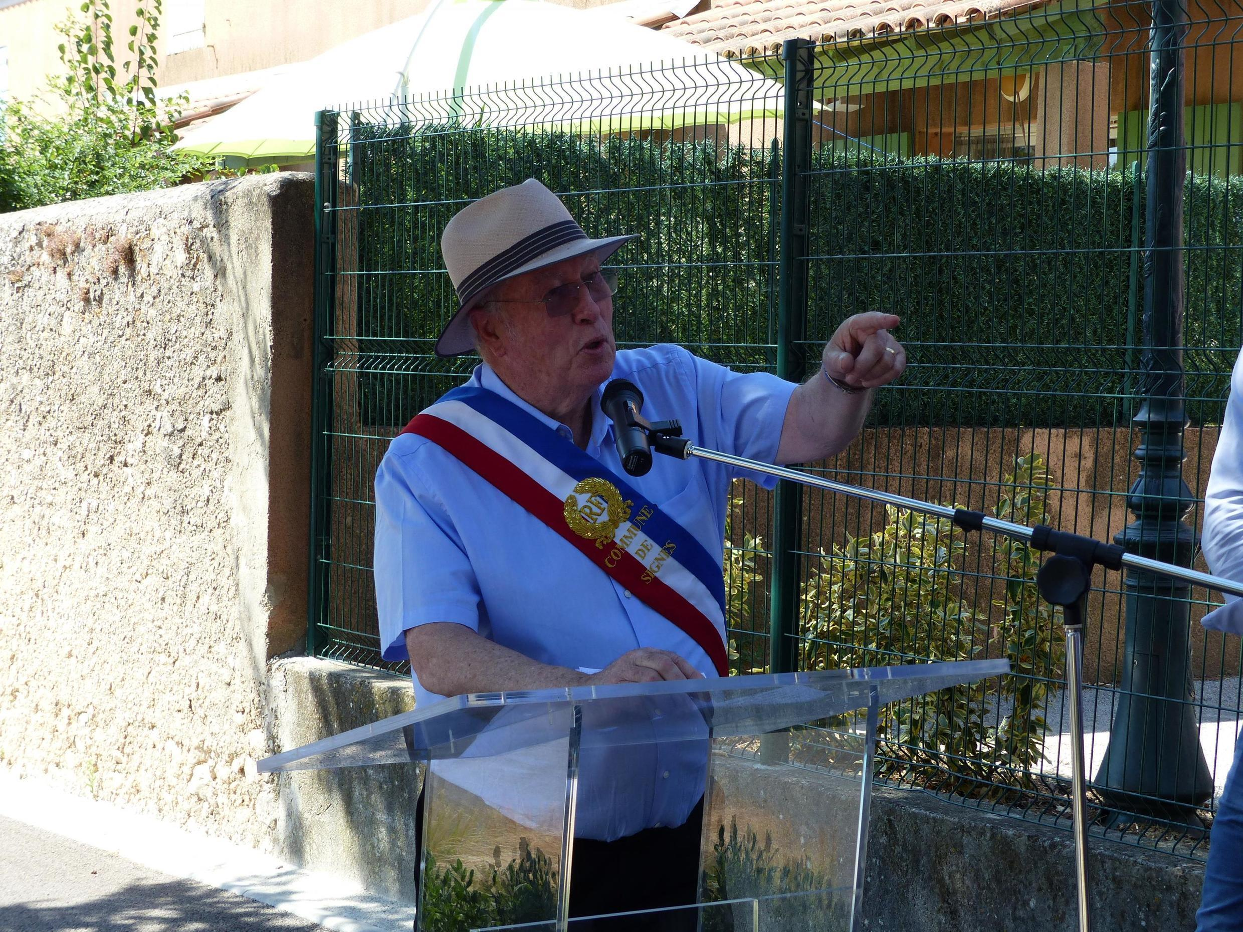 Mayor Jean-Mathieu Michel during the inauguration on 1 July of Resistance avenue in the village of Signes in southern France