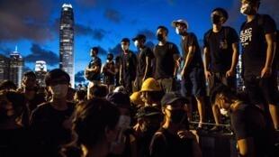 Người biểu tình trên đường phố Hồng Kông ngày 01/07/2019.