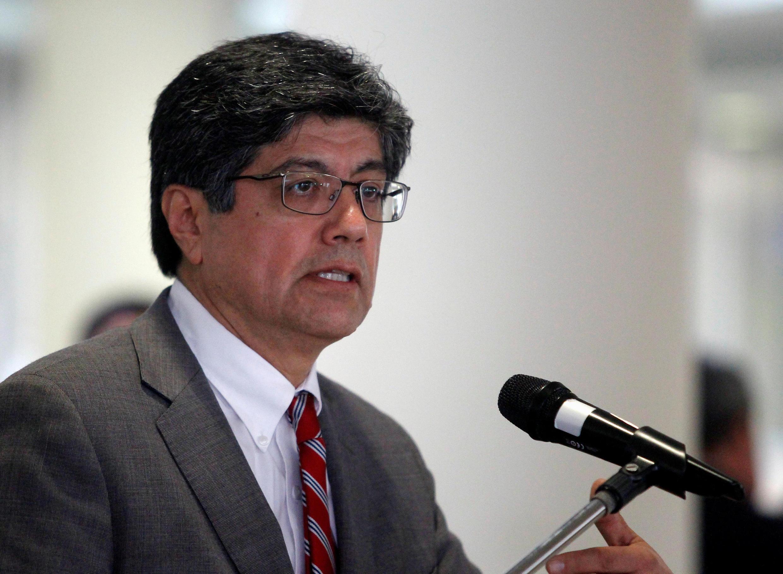 Image d'archive: Le ministre des Affaires étrangères de l'Equateur Jose Valencia annonce lors d'une conférence de presse, le 25 juin 2018.