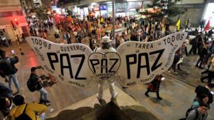 Manifestación en defensa de los Acuerdos de Paz con las Farc, en Bogotá el 18 de marzo de 2019.