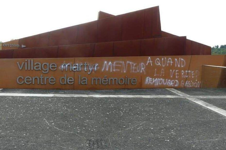 Graffiti found on the WW2 memorial at Oradour-sur-Glane, with the word liar instead of martyr, 21 Aug 2020