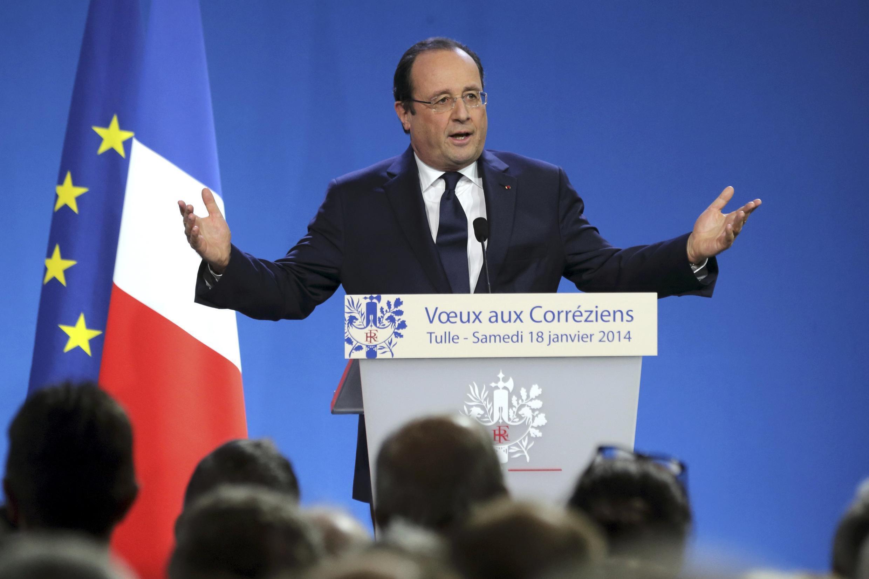François Hollande lors de ses voeux aux Corréziens. Tulle, le 18 janvier 2014.