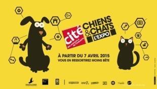 """Afiche de la exposición """"Chiens et chats""""."""