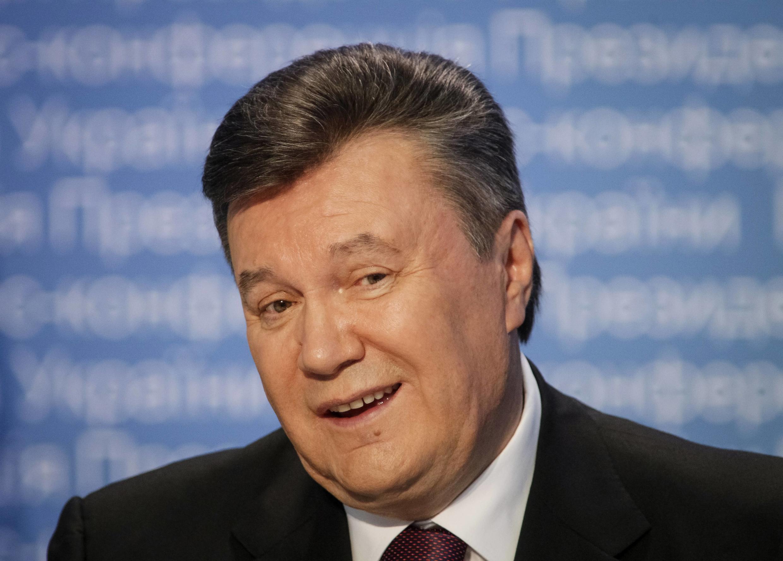 乌克兰总统亚努科维奇2013年3月1日在基辅的一次记者会上。