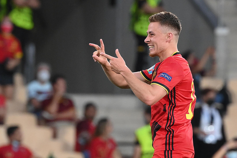 Le milieu belge Thorgan Hazard buteur lors du 8e de finale de l'Euro contre le Portugal, à Séville, le 27 juin 2021