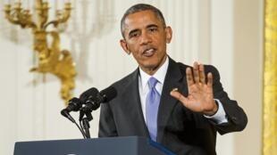 Le président Obama lors d'une conférence de presse sur le récent accord nucléaire iranien, le 15 juillet 2015 à Washington.