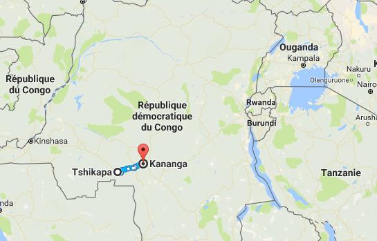 Ramani ikionesha eneo la Tshikapa-Kananga, ambako mauaji ya halaiki yameripotiwa