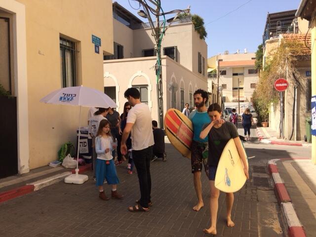 دفتر رای گیری در محلۀ نِوِه زِدِک در تل آویو – ٩ آوریل ٢٠١٩