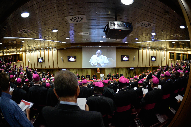 Le pape François, lors du synode sur la famille, qui se tient du 4 au 25 octobre 2015 au Vatican.